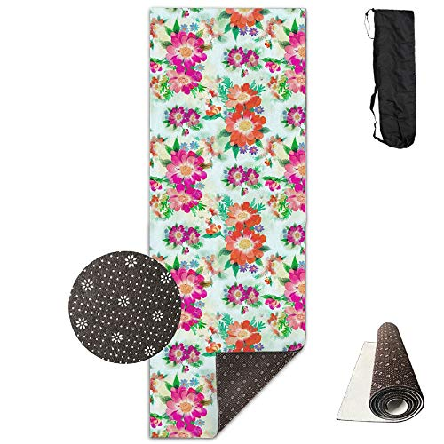 GVSOJA 70-Inch Long 28-Inch Wide Comfort Velvet Yoga Mat, Lake Grass Flower Mat Carrying Strap & Bag by GVSOJA