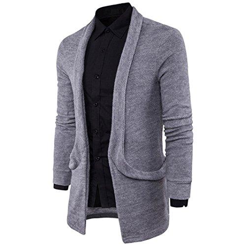 Gris suéter Moda Hombre de de Chaqueta para Cardigan Abrigo Hombre RETUROM Larga Ropa Punto sólido F6wqIa