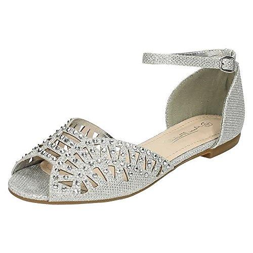 Anne Michelle - Zapatos abiertos modelo Tim Peep para mujer Dorado
