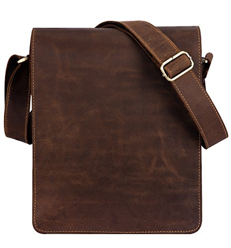 "Kattee Vintage Cow Leather Flapover Messenger Bag Fit 10"" Laptop (Brown, Large)"