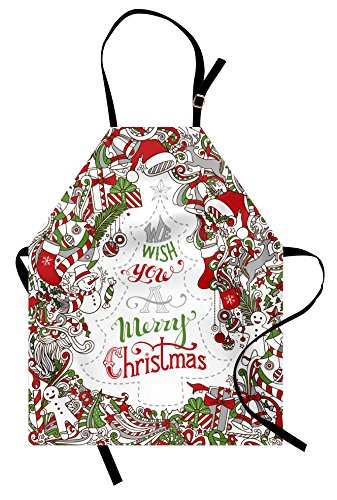 Ambesonne Christmas Apron, We Wish You a
