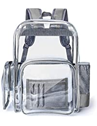 Large Clear Backpack Heavy Duty Transparent Backpack Bookbag for School Work Travel