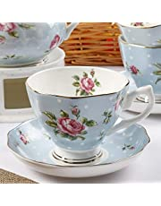 YYW Floral Tea Cups and Saucers Set, Multi-color Floral Tea Cup Set, Porcelain Tea Set, Rose Teacups, China Tea Cups, Coffee Cups, Latte Cups Tea Cups, Tea Cups for Tea Party