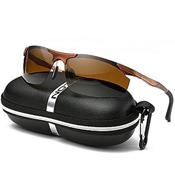 LXKMTYJ Echte Sonnenbrille und der Polarisator auf der Autofahrer Brille fahren rundes Gesicht Männer tragen Sonnenbrillen, Kaffee - farbiger Kasten