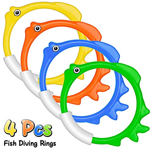 Kiztoys Pool Toys for Kids, Toddler Pool Games with Toy Fish Rings (4 Pcs), Diving Sticks (4 Pcs), Toy Fish (3 Pcs), Pool Toy Plants (3 Pcs) & Pool Gems (12 Pcs), Swimming/ Diving Toys