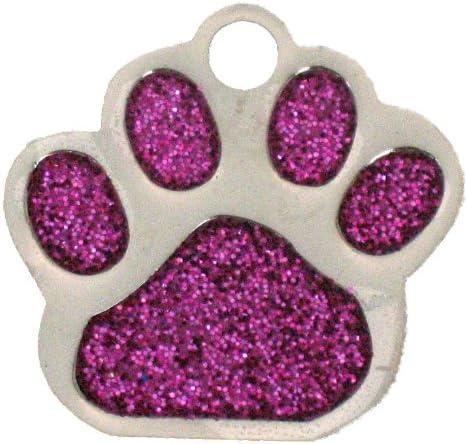 Nickel 27mmx28mm Pink Glitter Paw Dog Tag