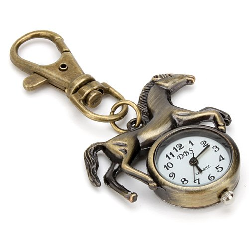- New Vivid Running Horse Analog Key Chain Ring Keychain Pocket Watch Pendant C...