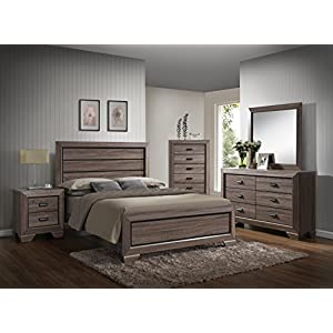 GTU Furniture Lyndon Pc Weathered Grey Panel Bedroom Set