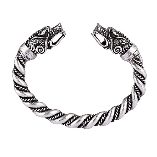 (MYAROMA FINDINGS Large Norse Viking Wolf Bangles Bracelets)