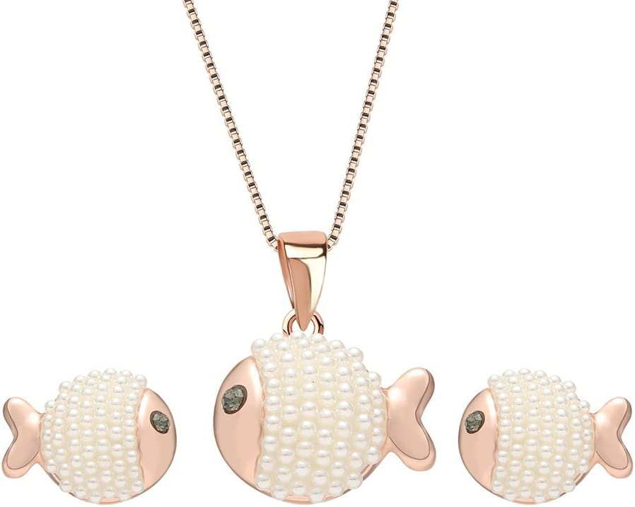 SONGAI Las Mujeres Conjunto de joyería Colgante Collar de Regalos Pendientes de Moda Lindo pez Dorado, Perlas de imitación de Color: Rosa de Oro (Color : Rose Gold)