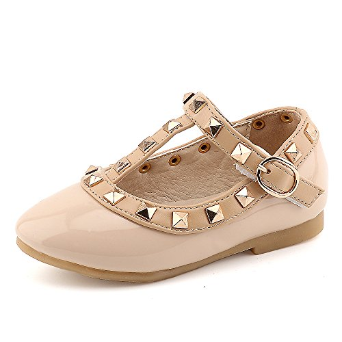 CCTWINS KIDS Toddler Little Kid Baby Girl Studded T-Strap Flat Shoes for Child(G358-nude-24) -