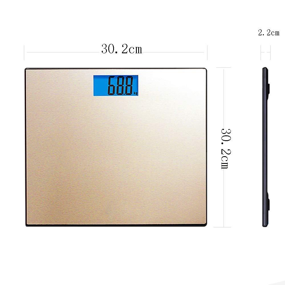 GYZ Escala de Peso - Instrumento de pesaje de pérdida de Peso de precisión Panel Cepillado Pesaje más Grande Báscula de baño de Peso Digital (Oro) /+-+/: ...