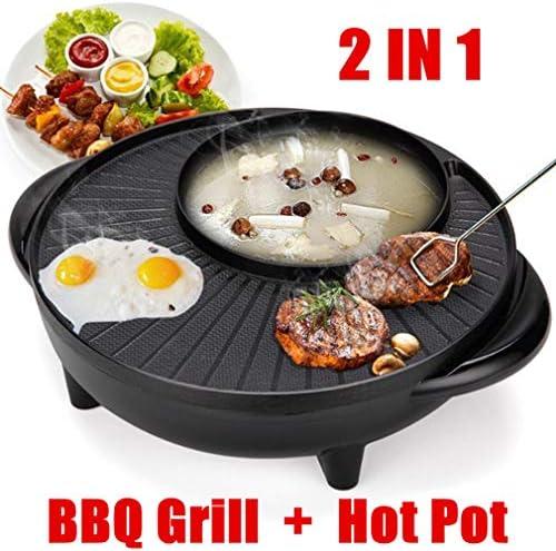OMGPFR 1350 W Multifonctionnel Électrique Barbecue Grill Plaque Antiadhésive Barbecue Pan Hot Pot Dîner Pique-Nique Skillet Maker 2-8 Personnes