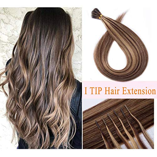 Pre bonded I Tip Human Hair Extension for Women Fusion Stick Tip Remy Human Hair Piece Invisible Keratin Glue Full Head 100 Strands 50 Gram 18Inch #4P27 Medium Brown&Dark Blonde