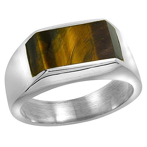 Sterling Silver Tiger Eye Ring for Men Slim Rectangular Flat Solid Back Handmade, size 9