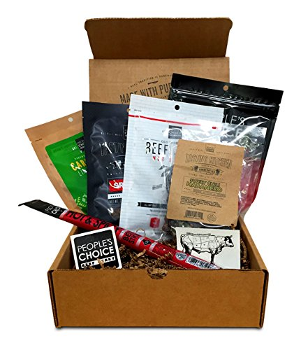 People's Choice Beef Jerky - Jerky Box - Some Like it Hot & Spicy - Meat Snack Sampler Gift Basket for Guys - 6 Items