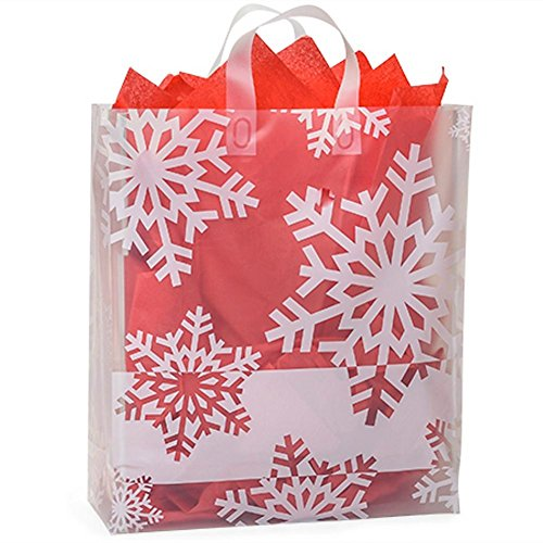 Snowflake Flurry Plastic Shopping Bags - Queen Size - 16in. X 6in. X 18in. - 100 Pieces by NW