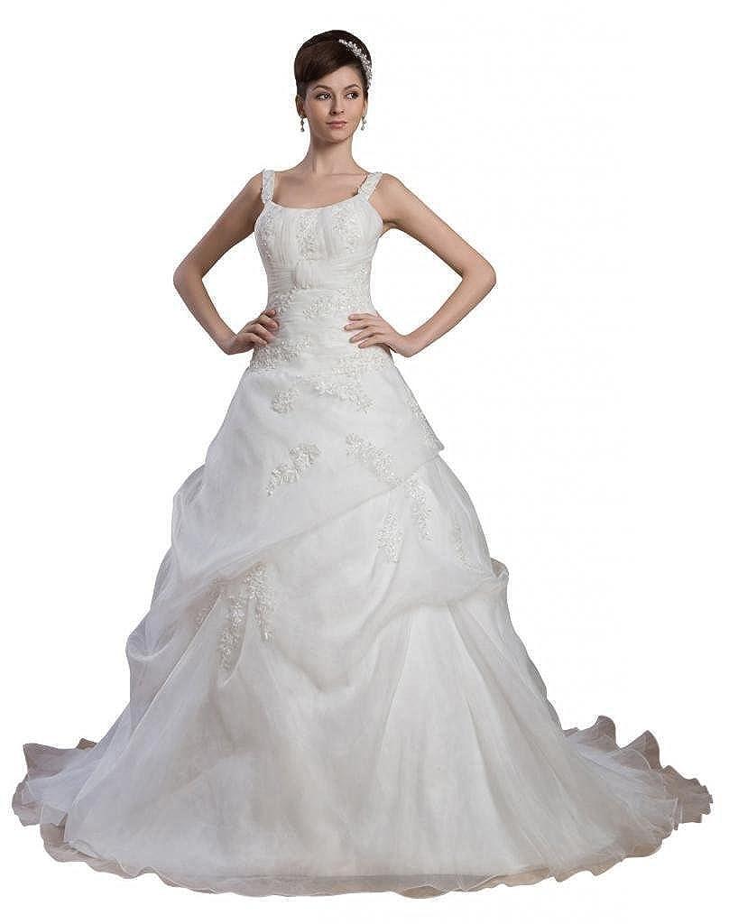 Dearta Womens A-Line Regular Straps Court Train Organza Wedding Dresses