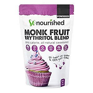 Powdered Monk Fruit Sweetener with Erythritol, 1:1 Sugar Substitute, Keto, 0 Calorie, 0 Net Carb, Non-GMO (Non-Organic, 1 Pound)