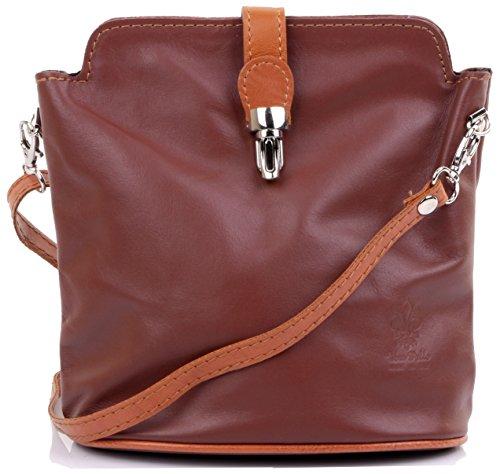 Italian Soft Leather Shoulder Bag - Primo Sacchi Italian Soft Leather Brown & Tan Hand Made Small Cross Body or Shoulder Bag Handbag