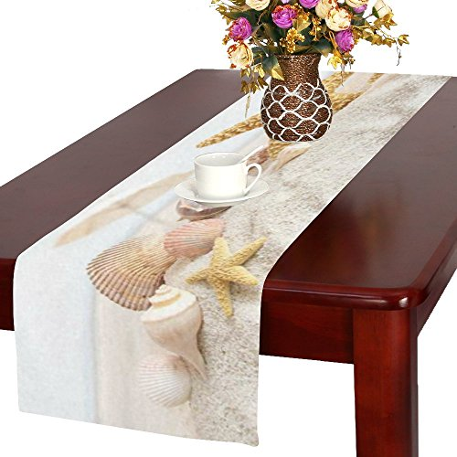 InterestPrint Seashell Starfishes Cotton Table Runner Placemat 16 x 72 inch, Summer Sandy Beach Table Linen Cloth for Office Kitchen Dining Wedding Party Home (Summer Fashion Accessories Shell)