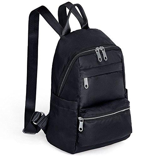 UTO Mochila de nylon ligero Unisex Mochila Escuela Colegio Bookbag Bolso de viaje Shoulder Purse Negro