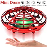 Mini Drone for Kids Beginner Hand Controlled,UFO Flying Ball Toys with 360° Rotating Hovering and LED Lights,Quadcopter Drone Toy for Kids Family Party Indoor Outdoor,RC Helicopter Kids Birthday Gift