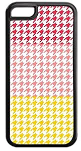 Colorblock Houndstooth-Red, Pink, Yellow-Case for the APPLE iPhone 5c-Hard Black Plastic Outer Case with Tough Black Rubber Lining
