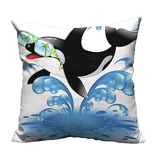 YouXianHome Decorative Throw Pillow Case Summer Holiday Ocean Cute Jumping Killer Whale with Sunglasses Cartoon Animal Love Theme Ideal Decoration(Double-Sided Printing) 17.5x17.5 inch -
