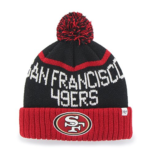 '47 NFL San Francisco 49ers Linesman Cuff Knit Beanie with Pom, One Size, Black