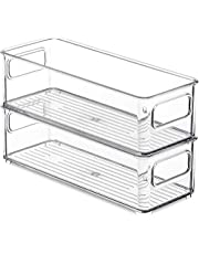 Kamenda 4 stuks koelkast-organizer, transparant, stapelbaar kunststof levensmiddelenrek met handgrepen voor de eetkamer, keuken