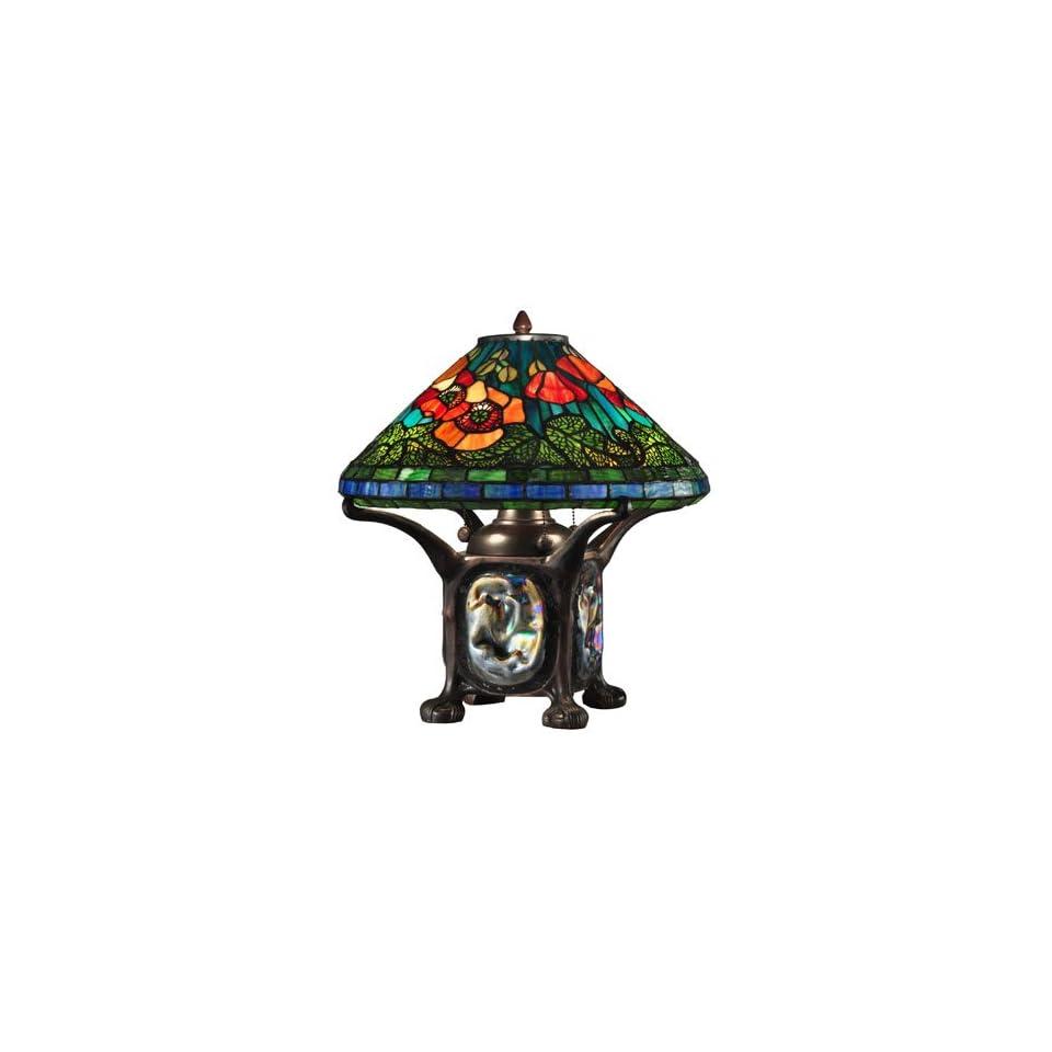 Dale Tiffany TT12329 Poppy Table Lamp with Night Light, Dark Antique Bronze