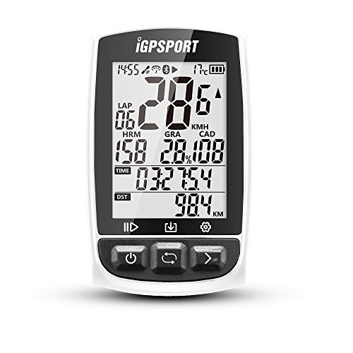 iGPSPORT GPS Bike Computer iGS50E Wireless Cycle Computer Speedometer Cycling Bicycle Odometer With Big Screen(White) by iGPSPORT