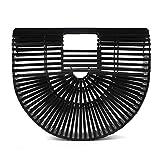 Delaman Bamboo Clutch Handbag Handmade Tote Purse Straw Beach Bag for Women (Small Black)