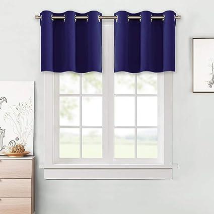Merveilleux NICETOWN Navy Blue Blackout Kitchen Valances   Blackout Grommet Tier  Curtain Panels For Kitchen, Basement