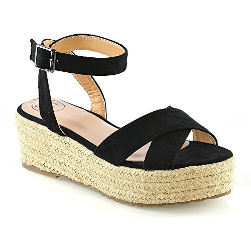 Faux Suede Cross Strap - ESSEX GLAM Womens Espadrilles Ladies Black Faux Suede Cross Strap Platform Wedge Heel Sandals 8 B(M) US