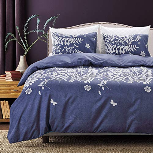 e Floral Duvet Cover Set King Size, White Flowers Tree Branches Leaves Butterflies Pattern Printed Bedding Sets, 3 Pieces - 1 Duvet Cover 2 Pillow Shams ()