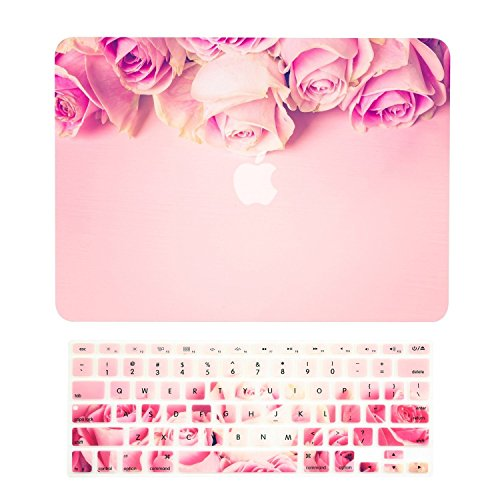 TOP CASE - 2 in 1 Signature Bundle Graphics Matte Hard Case + Keyboard Cover Compatible MacBook Air 13 (13 Diagonally) Model: A1369 & A1466 (Older Version, Release 2010-2017) - Pink Rose