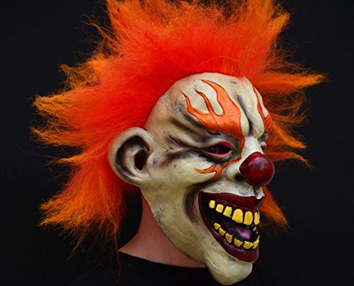 Acid Tactical Scary Creepy Halloween Clown Evil Latex Mask – Flame Clown