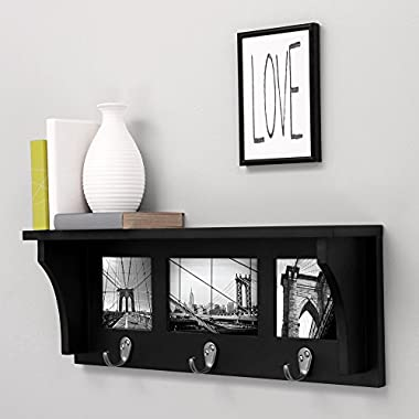 nexxt Riley Wall Shelf and Picture Collage with 3 Hooks, 18.5-Inch by 7-Inch, Holds 2- 4 by 4-Inch and 1- 4 by 6-Inch Photo, Black