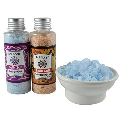 (Lavender & Sandalwood Bath Salt Gift Set, Ideal for Sore Muscles, Detox, Relax & Stress Reliever, Small 2pc 3.8 Oz each, by Bali Soap)