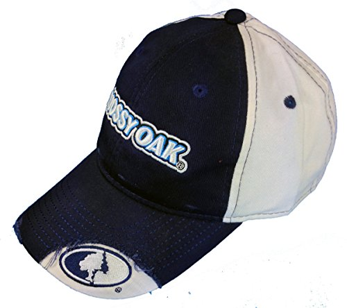 BT Outdoors Mens Mossy Oak CasualCap Blue and White Hat with Mossy Oak Logo Plus a Free Decal