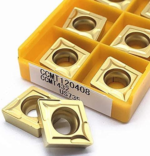 10pcs Carbide Drehwerk CCMT120408 VP15TF UE6020 US735 Externe Drehwerkzeug Wendeschneidwerkzeugmaschinen Zubehör CCMT 120408 (Größe : CCMT120408 US735)