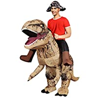 ANOTHERME Inflatable Dinosaur Fancy Dress for Adult | Halloween Costume | Blow Up Costume Brown
