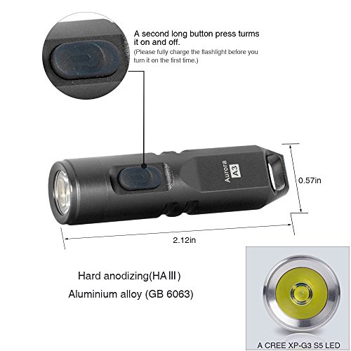 550 Lumens Super Bright Outdoor EDC Mini Keychain Rechargeable LED Flashlight,Hard Anodizing Aluminium Alloy Built-in Li-ion Battery 45 Minutes Fast Charging,Waterproof IPX-65 Small Torch,A3(Gun Grey) by RovyVon (Image #2)