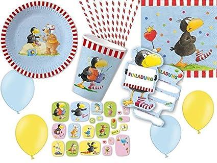 131-tlg. Partyset Der kleine Rabe Socke - für 8 Kinder - Partygeschirr und Zubehör