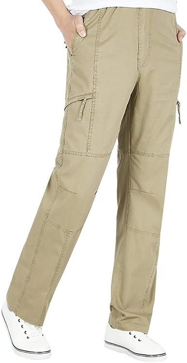 MXJEEIO Pantalones Chinos para Hombre,Hombres Color sólido ...