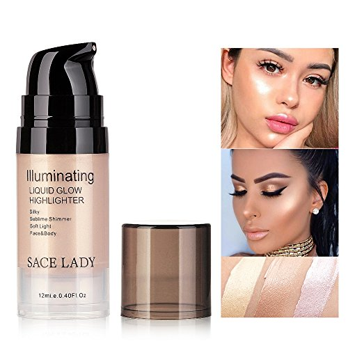SACE LADY lluminating Liquid Glow Highlighter Makeup,Sublime Shimmer Soft Light Face and Body Luminizer,12ml/0.40 Fl Oz (03.Champagne)