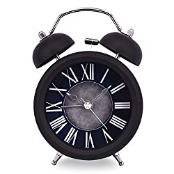 Slash 3 Classic European Style Vintage Retro Old Fashioned Quiet Non-ticking Sweep Second Hand, Quartz Analog Twin Bell Clock, Battery Operated, Loud Alarm, Nightlight Function (Black-Black) S10036