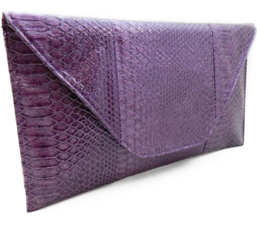 Python Snake Metallic Purple Oversized Clutch